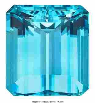 55064: Unmounted Aquamarine  Aquamarine: Emerald-cut we