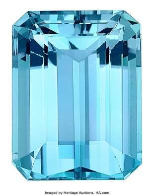 55068: Unmounted Aquamarine  Aquamarine: Emerald-cut we
