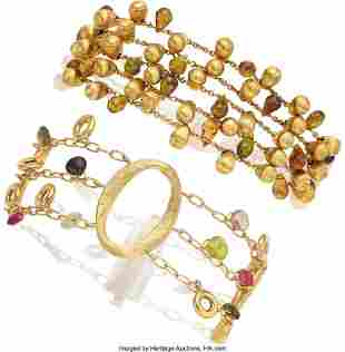 55280: Multi-Colored Tourmaline, Gold Bracelets  Stones