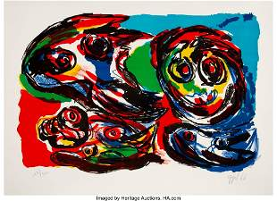 41004: Karel Appel (1921-2006) Four Heads, 1966 Lithogr