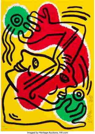 41038: Keith Haring (1958-1990) Untitled (United Nation