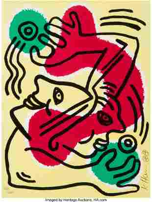 41040: Keith Haring (1958-1990) Untitled (United Nation