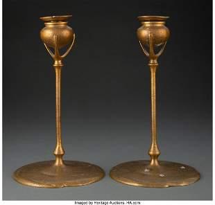 79273: Pair of Tiffany Studios Gilt Bronze Candlesticks
