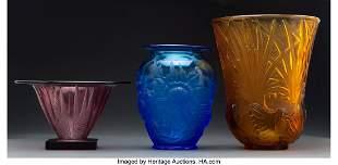 79369: Three Verlys Glass Vases, circa 1930 Marks to ta