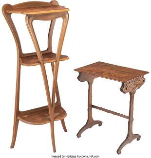 79294: Emile Gallé Marquetry Side Table and a Lo