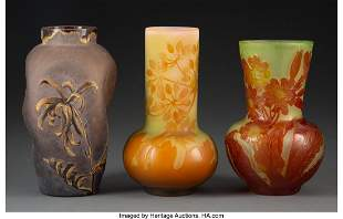 79300: Three French Glass Vases, circa 1905 Marks to tw