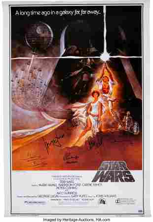 89001: Star Wars Cast Signed Movie Poster. An early 199