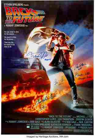 89005: Back to the Future Cast Signed Movie Poster. A 2