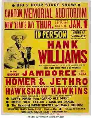89203: Hank Williams 1953 Canton, OH Genuine Original C