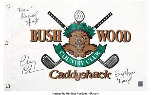 89011: Caddyshack Cast Signed Golf Pin Flag. A replicat