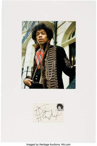 89431: Jimi Hendrix Signature in a Matted Display. A st