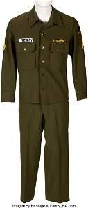 89321: Elvis Presley Worn Army Suit. An army suit worn