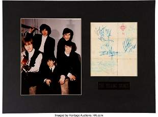 89472: The Rolling Stones Signed Piece of Paper. Matted