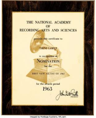 89149: Trini Lopez Best New Artist Grammy Nomination Ce