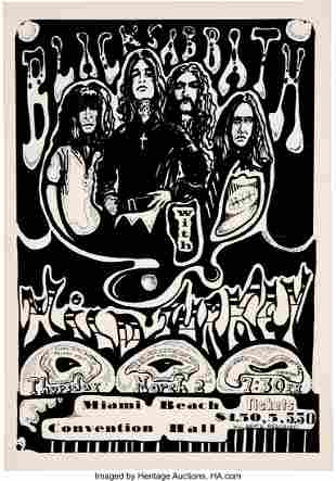 89195: Black Sabbath 1972 Miami Beach, FL Concert Poste