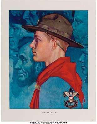 71432: Norman Rockwell (American, 1894-1978) Scouting T