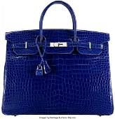 58007: Hermès 40cm Shiny Blue Electric Porosus C