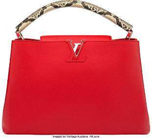 58175: Louis Vuitton Python & Scarlet Taurillon Leather