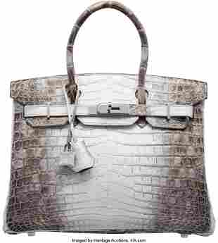 58076: Hermès 30cm Matte White Himalayan Nilotic