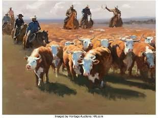 67021: Xiang Zhang (American, b. 1954) The Cattle Drive