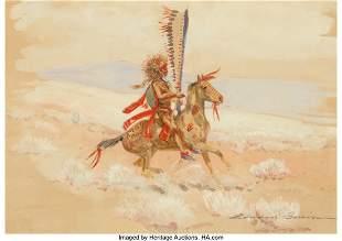 67022: Edward Borein (American, 1872-1945) Indian on Ho