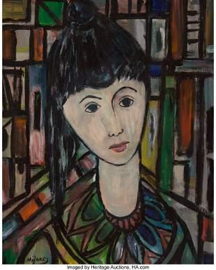 77021: Jose Maria Mijares (1921-2004) Mujer Oil on boar