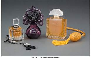 27103: Three Lalique Glass Perfume Bottles with Origina