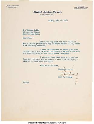 47277: John F. Kennedy Typed Letter Signed.  One page,