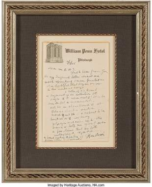 47361: Harry Houdini Autograph Letter Signed. One page,