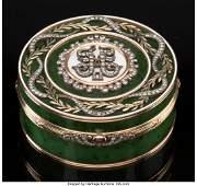 74176: A Spinach Jade, 14K Vari-Color Gold, Diamond, an