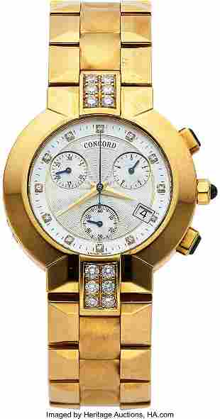 "Concord, La Scala"" 18k Yellow Gold & Diamond Chr"