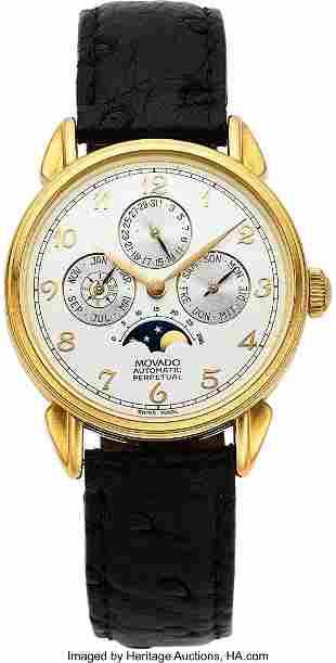 54030: Movado Gold Astronomic Perpetual Calendar Wristw