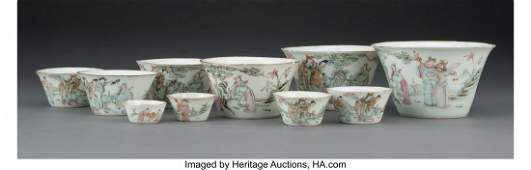 28025: A Set of Ten Famille Rose Nesting Cups, Republic