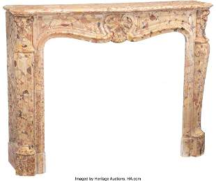 61083: A French Louis XV-Style Breche d-Alep Marble Fir