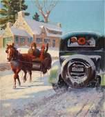 PAUL STRAYER (American, 1885-1981) A Winter's Ride Oil