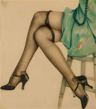 ALBERTO VARGAS (American, 1896-1982) Black Stockings Wa