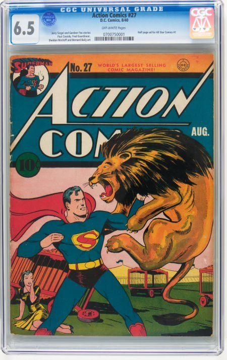 91001: Action Comics #27 (DC, 1940) CGC FN+ 6.5 Off-whi