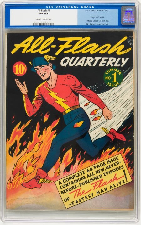 91022: All-Flash #1 (DC, 1941) CGC NM 9.4 Off-white to