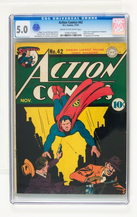 95003: Action Comics #42 (DC, 1941) CGC VG/FN 5.0 Cream