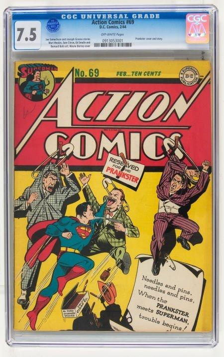 95006: Action Comics #69 (DC, 1944) CGC VF- 7.5 Off-whi