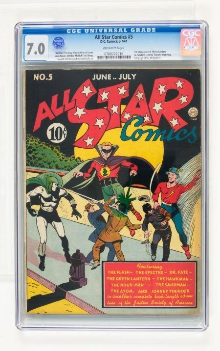 95022: All Star Comics #5 (DC, 1941) CGC FN/VF 7.0 Off-