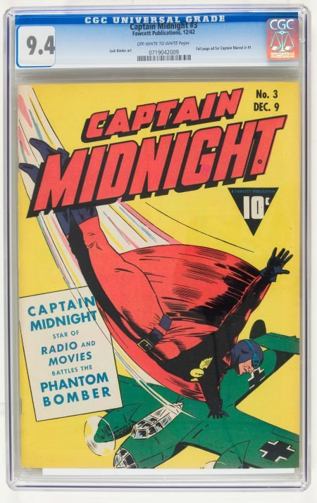 95060: Captain Midnight #3 (Fawcett, 1942) CGC NM 9.4 O