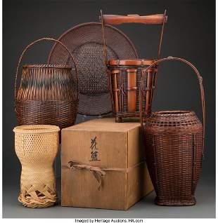 Japanese School Five Ikebana Baskets Bamboo 19-1