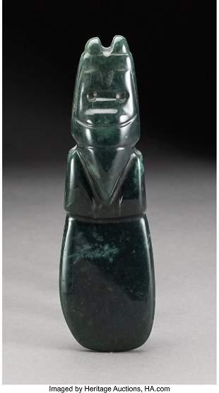 70181: A Costa Rica Jade Celt Pendant c. 300-700 AD F