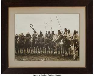 70104: A Large Photograph Crow Indians At Home c. 1908