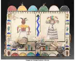 A Zuni Polychrome Tableta c. 1950 wood, cloth,
