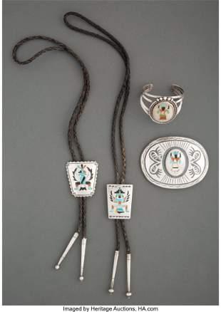 Four Zuni Jewelry Items c. 1950 and 1980 inclu