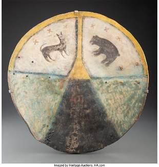 70114: A Pueblo Painted Buffalo Hide Shield c. 1850 d