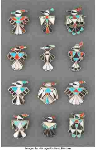 Twelve Zuni Pins and Pendants c. 1975 includin