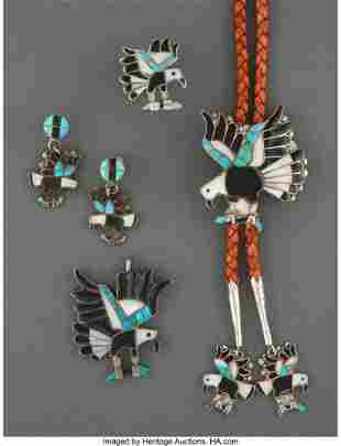 A Zuni Jewelry Suite c. 1965 silver, turquois
